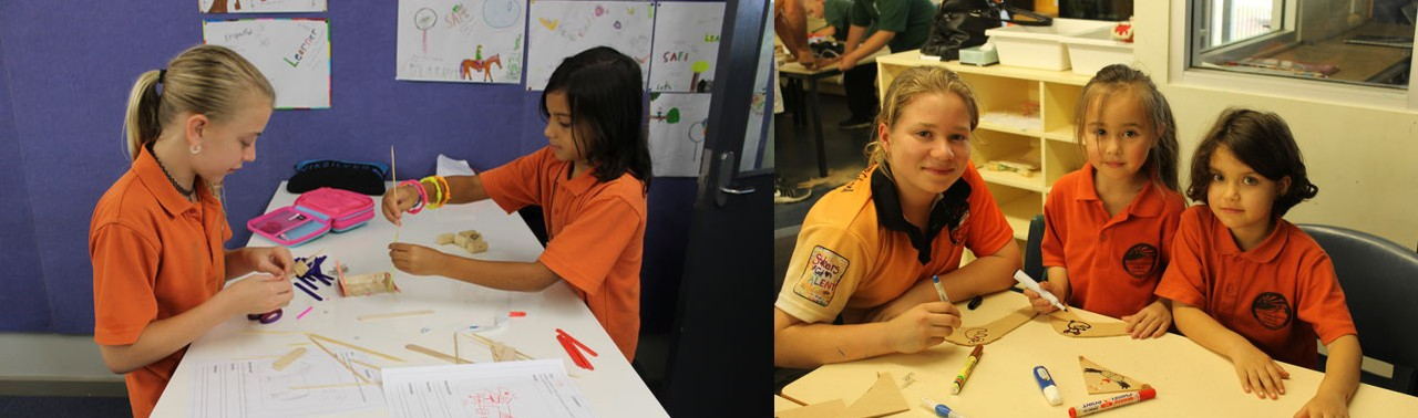 Children working and drawing at school